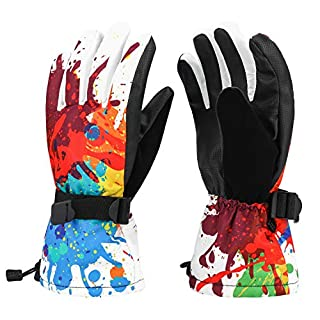 Oumers Ski Gloves, Waterproof Winter Outdoor Sport Gloves Winter Warm Thermal Gloves Best for Snow Skiing Snowboarding Snowmobile (Size for Women and Young Boy Teenager)