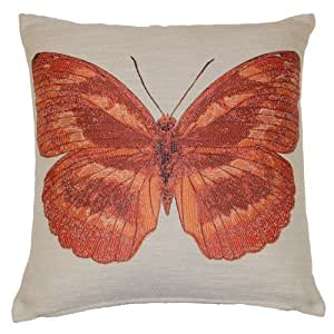 Papillon Embroidered Butterfly Decorative Scatter Cushion Cover 18 x 18 Terracotta