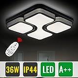 Hengda® 36W Modern Küchenleuchte LED Deckenleuchte Dimmbar Farbwechsel IP44 Eckig Wohnzimmerlampe Esszimmer Lampe Schlafzimmerleuchte [Energieklasse A++]