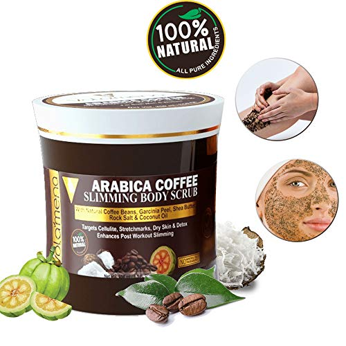 Volamena 100% Natural Arabica Coffee SLIMMING BODY Scrub 250 ml/ 8.5 Fl Oz for Men/Women (NO Mineral Oils, NO Parabens)