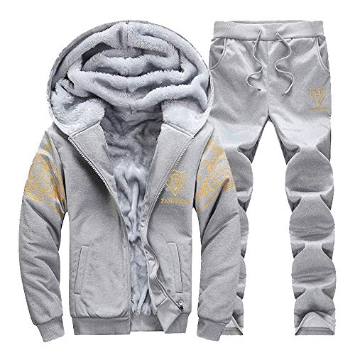 JUTOO Mens Hoodie Winter Warm Fleece Zipper Sweater Jacke Outwear Mantel Top Hosen Sets(A5-Grau,Large)