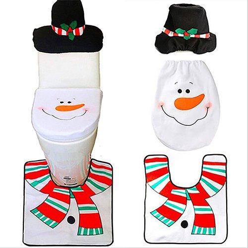 Dexinghaoye decorazione natalizia pupazzo di neve tappetino WC, serbatoio di tappetino set