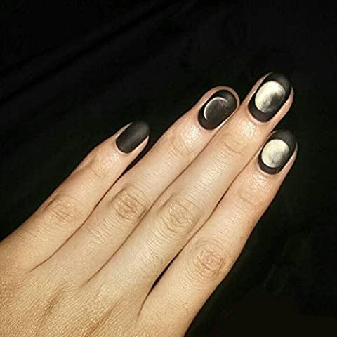 YuNail 24 Pcs Simple Moon Eclipse Black Square Short Full Cover False Nail with Glue Stickers and Mini