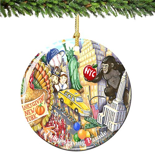 NYC Macy's Thanksgiving Day Parade Christmas Ornament in Porcelain featuring The Sights and Landmarks of New York City on Thanksgiving City Souvenir Ceramics Christmas Tree 3