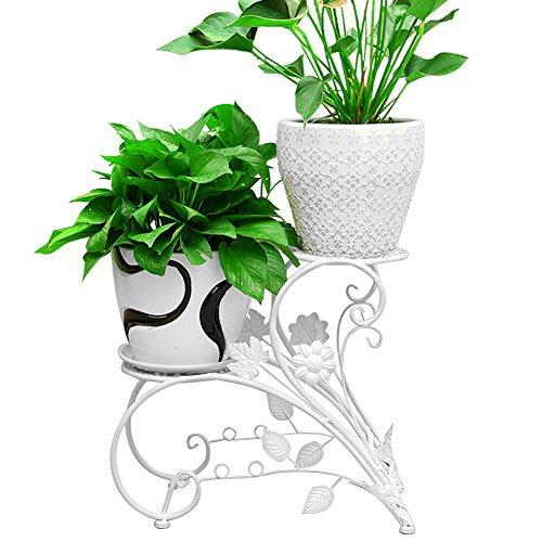 Letech Pflanzentreppe Blumenbank mit 2 Hocker - belastbar bis 30 kg (Weiß)