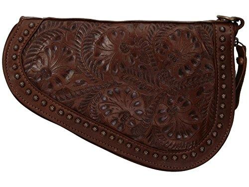 American West tolled Leder gepolstert Gun Case Bundle W Flash Licht Schlüsselanhänger, chestnut brown -