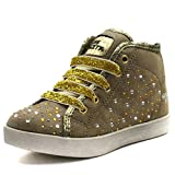 MS008 Miss Sixty Ribbon Tie & Jewles detailing Ankle Boot w/side zip for Girls in Gold Faux Suede Größe 27