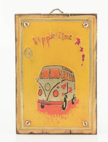 """Cuadro decorativo Vintage (metal y madera) 20X30 """"Hippie"""""""