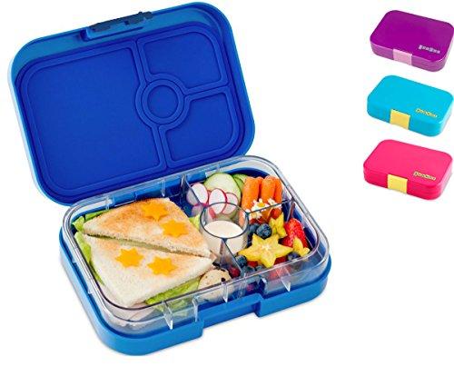 Yumbox Panino M Lunchbox - (Neptune Blue, 4 Fächer) - Brotdose mit Unterteilung | Bentobox mit Trennwand Einsatz für Schule und Kindergarten Kinder, Picknick, Arbeit sowie Uni