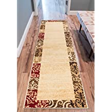Verdant Vines Beige Modern Damask Border Rug 80 x 290 cm ( 2'7'' x 9'6'' ft Runner ) Casual Oriental Easy Clean Stain Fade Resistant Shed Free Contemporary Floral Formal Gradient Soft Living Dining Room Rug