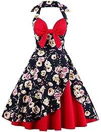 Babyonline® Damen Halter Vintage Retro Kleider Abendekleider