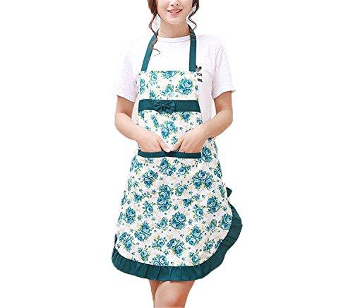 Neue Bedruckte Schürze mit Taschen Wasserdicht Floral Lätzchen Küche Boden Release Schleife Home Textiles Reithose grün -