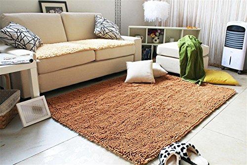 LYD® Teppich Home Maschine Waschbar Super Sauber Chenille Wohnzimmer Couchtisch Schlafzimmer Teppich Sofa Pad Badezimmer Anti-Rutsch Rechteckige Matte 70*140Cm Champagne
