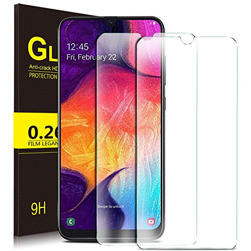 Kugi. Protector de pantalla de vidrio templado para Samsung Galaxy A50, Protector de pantalla [Dureza 9H] Adecuado para Samsung Galaxy A50 (Piezas 2)