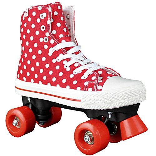 Rookie Canvas High Polka Dots, Rollschuhe Unisex Kinder, Canvas High Polka Dots, rot/weiß