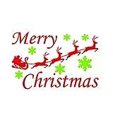 WINOMO Frohe Weihnachten Weihnachtsmann Elk Zitate Schriftzug Vinyl Worte Grafik Wandaufkleber 22x12in