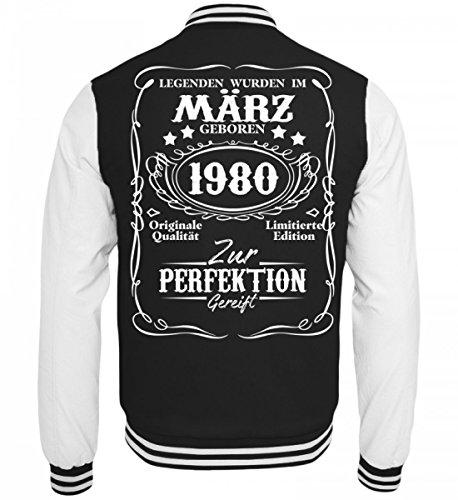 Hochwertige College Sweatjacke - Legenden März Geburtstag Geschenk 1980 Schwarz-Weiss