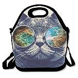 Dozili Kaschmir-Katzen-Sonnenbrille, groß und dick, Neopren, isolierte Lunch-Tasche, Kühltasche, warm, mit Schultergurt, für Damen, Teenager, Mädchen, Kinder, Erwachsene