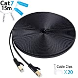 Cat7 Câble Ethernet haute vitesse, 15m 10 Gigabit blindé réseau plat fils avec connecteurs plaqués or Connecteurs RJ45 et cordon Clips pour ordinateur Switch, hub, PC, caméras IP, modem, routeur - 15 metres Noir...