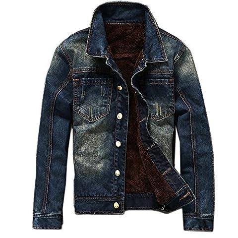 Linyuan Men's Winter Plus Thick Velvet Casual Denim Jacket Coat Warm Outerwear Tops