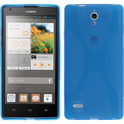 PhoneNatic Case für Huawei Ascend G700 Hülle Silikon blau X-Style Cover Ascend G700 Tasche + 2 Schutzfolien