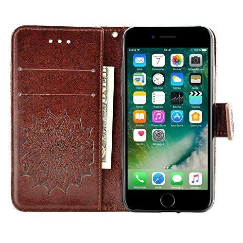 Fraelc iPhone 8 Hülle Premium Kunstleder Tasche im Bookstyle Klapphülle mit Weiche Silikon Handyhalter Lederhülle für iPhone 7 / iPhone 8 (4,7 Zoll) Indische Sonne Design Brieftasche - Grau Braun