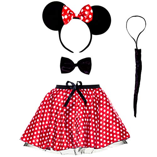 sowest Kostüm Minnie Mouse Erwachsene Stirnband Ohren & Tutu Rock Kostüm rot Damen (Minnie Mouse Adult Kostüm)