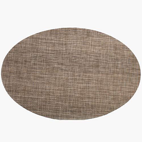 Brown Ovalen Esstisch (CQ Platzset Einfarbig PVC Oval Anti-Rutsch-Isolierung Platzset 6er Set,Brown)