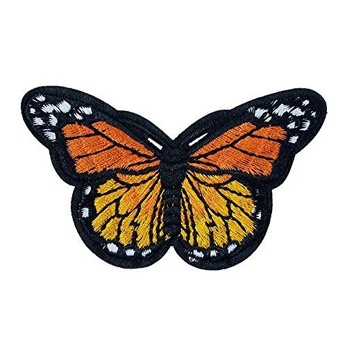 Vanker 5x DIY Schmetterling Bestickt Patches Sew auf Patch Tuch Aufkleber Aufnäher Badge Orange