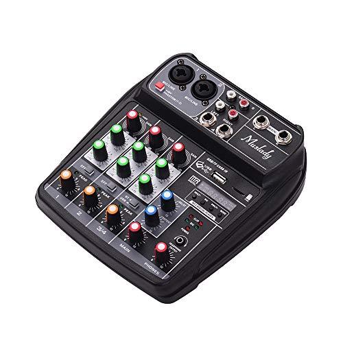 JJmooer AI-4 Tarjeta sonido compacta Consola mezclas