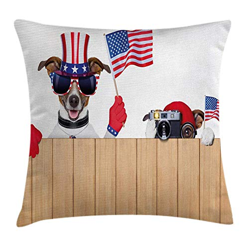 ZTLKFL 4th of July Throw Pillow Cushion Cover, 2 Funny Dogs Watching The Parade with Flags Taking Photos Behind The Fences, Decorative Square Accent Pillow Case, 18 X 18 Inches, Multicolor -
