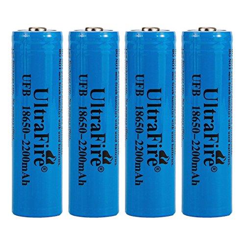 Galleria fotografica UltraFire Batteria 18650 Ricaricabile Litio 3.7V 2200mAh Pile ricaricabili,Batteria Non Piatta, Batería Contacto de Punto(4 pezzi)