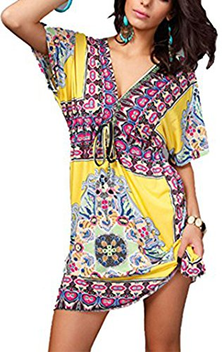 Jastore®Floral tief V-Ausschnitt boho Damen Strandponcho Sommer Kleid Überwurf Kaftan Strandkleid Bikini Tunika Cover Up (Blau) (M, Gelb) (Floral Tunika Chiffon)