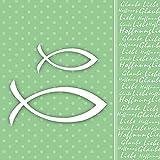 20 Servietten grün Fische Kommunion Konfirmation Glaube Kirche Religion 33 x 33cm