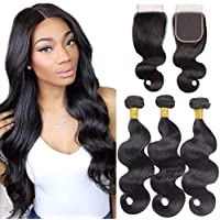 Brazilian Body Wave 3 Bundles with Lace Closure 4 x 4 free Part 100% Unprocessed Human Hair Weft extensions Natural colore nero 14 16 18+14 inches