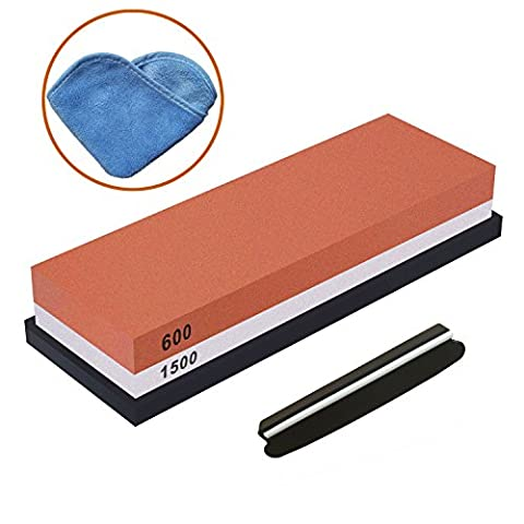 Whetstone,Tenine Sharpening Stone Corundum Two Sided 600 / 1500 Knife Sharpener Waterstone with Slip-Resistant Rubber Holder for Kitchen, Outdoor Survival and DIY Projects (600/1500)