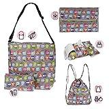 My Bag's Set Bolso para Silla de Paseo + Cambiador + Neceser + Porta toallitas + Mochila Saco | Gris Búhos