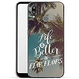 Finoo Hülle für Huawei P20 Lite - Handyhülle mit Motiv und Optimalen Schutz Tasche Case Hardcase Cover Schutzhülle - Life is better in FlipFlops