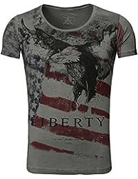 739529007b3302 Akito Tanaka Herren vintage used Look T-Shirt Eagle round tiefer rundhals  Ausschnitt USA Amerika