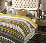 Riva Home Lymington Duvet Sets, 100% Brushed Cotton Flannelette, King Size Bed, Yellow Grey White