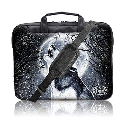 """TaylorHe Spiral Direct Collection 15"""" 15,6"""" Borsa in Nylon per notebook borsa a tracolla per PC portatili Laptop Sleeve Case con manici e tracolla tasche per accessori Samsung/Acer/Toshiba/Macbook neve, chiaro di luna, il lupo"""