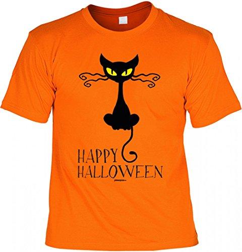 sex T-Shirt - Katze: Happy Halloween - Coole Geschenk-Idee zur gruseligsten Zeit Des Jahres in Farbe: Orange, Größe:S (Katze Halloween Outfit Ideen)