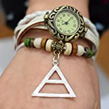 30 Seconds To Mars weiß Leder Armbanduhr. Charm 30 Seconds to Mars Uhr. Vintage inspiriert. Wrap Watch. Damen Geschen