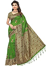 Ishin Poly Silk/Blended Mysore Silk Green Printed Women's Sari/Saree With Tassels
