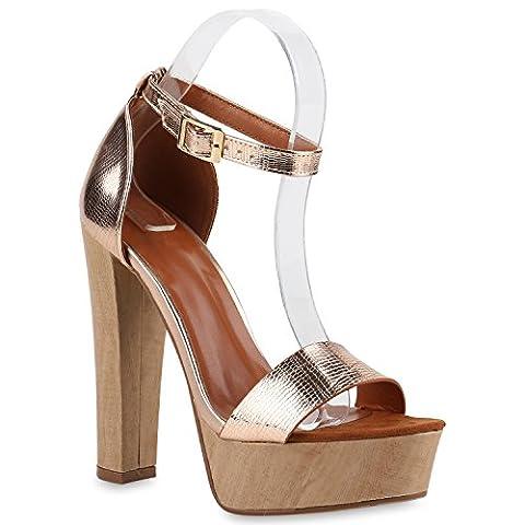 Damen Plateau Sandaletten Peeptoes Party Pumps Blockabsatz High HeelsSatin Samt Strass Fransen Schuhe 140265 Rose Gold Brooklyn 37 |