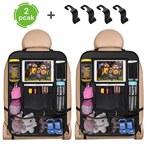 Auto Rückenlehnenschutz, 2 Stück Auto Rücksitz Organizer mit 4 Kopfstütze Haken für Kinder, Wasserdicht Autositzschoner, Große Taschen und iPad-Tablet-Halter, Autositz Kick Matten Schutz