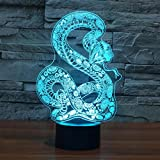 SFALHX Creative Boa constrictors 3D Lamp LED Snake 3D Night Lights 7 Colors Remote Touch Switch Animal 3D Desk Table Lamp Lamp Gift