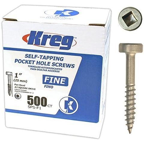 Kreg SPS-F1-500 Pocket Hole Screws 1-Inch #2 Fine Square Drive 500ct by Kreg