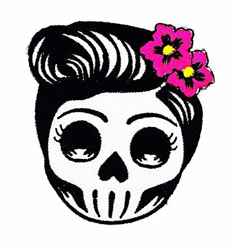 rabana Flower Sugar Skull (grau) Tag der Toten Lady Rider Patch Kinder Cute Animal Patch für Heimwerker-Applikation Eisen auf Patch T Shirt Patch Sew Iron on gesticktes Badge Schild Kostüm (Patch Flower Tote)