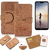 K-S-Trade Schutz Hülle für Huawei P20 Lite Single-SIM Handyhülle Kork Handy Tasche Korkhülle Schutzhülle Handytasche Wallet Case Walletcase Flip Cover Smartphone
